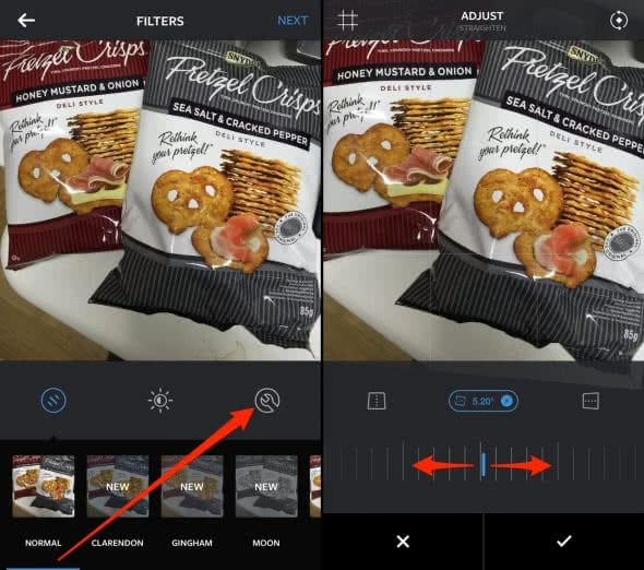 how to tilt a photo in instagram